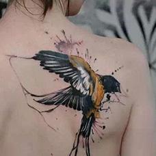 女生背部水墨麻雀纹身图片