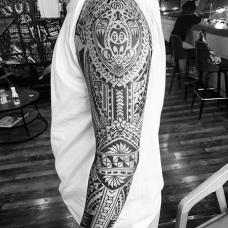 超酷的玛雅图腾花臂纹身图案