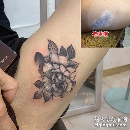 手臂玫瑰花图案胎记遮盖纹身
