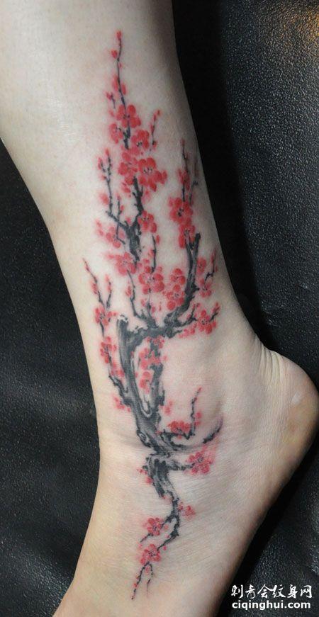 您可能还会喜欢背部水墨风梅花纹身图案或者颈部后面的水墨梅花纹身.