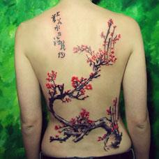 背部好看的梅花纹身图片