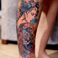 小腿古代美人纹身图片