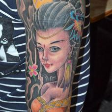 花臂美人纹身图片