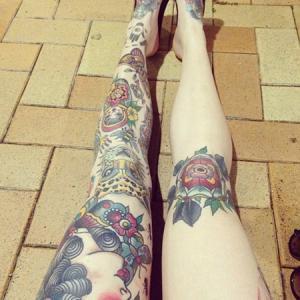 new school花腿纹身,美人豹子和套娃