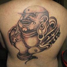 背部经典弥勒佛纹身图案