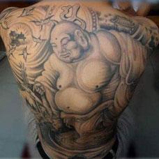 满背弥勒佛纹身图案