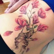 腰部木兰花纹身图片