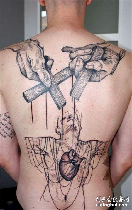 经典惩罚者后背纹身图案