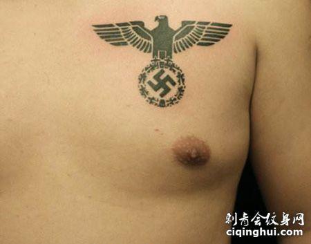 胸前纳粹标志纹身图案