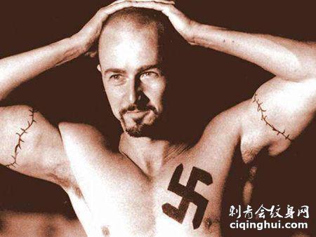 罪犯胸前纳粹符号纹身图案