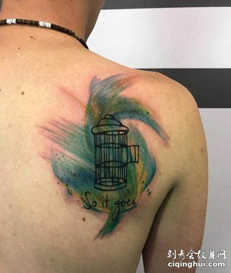 肩部鸟笼纹身图案
