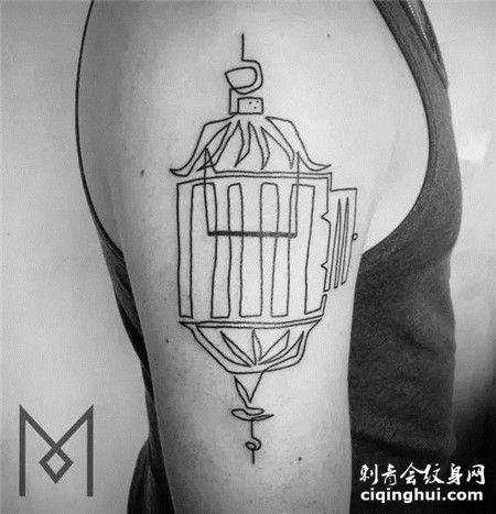 大臂打开的鸟笼简笔画纹身