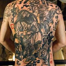 满背经典的判官纹身图案