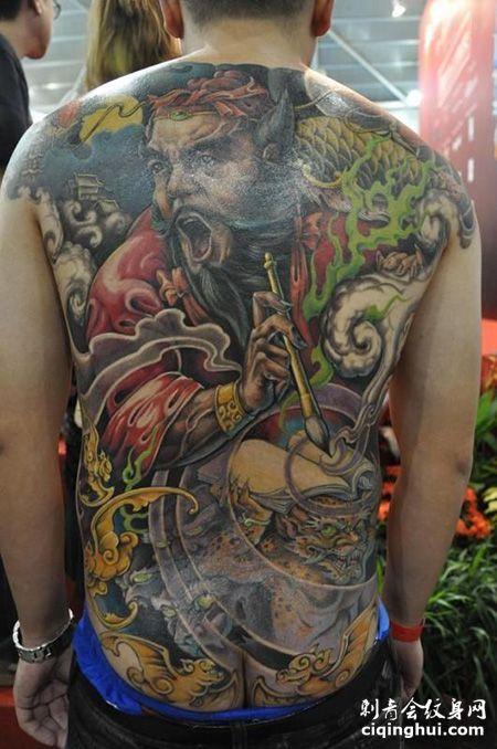 满背彩色判官纹身图案
