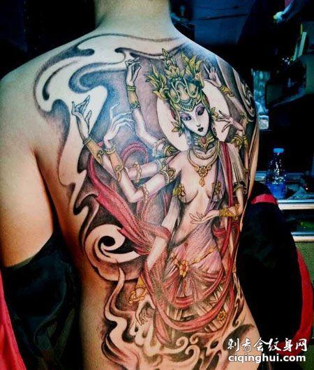 满背彩色千手观音纹身图案