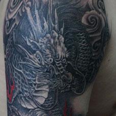 手臂传统火麒麟纹身图案
