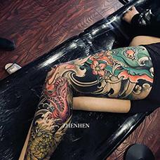 花腿青龙莲花纹身图案