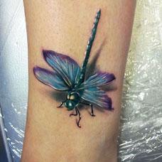手臂彩色蜻蜓纹身图案