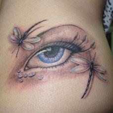 侧腰性感蜻蜓眼睛纹身图案
