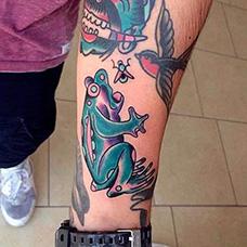 手臂个性青蛙纹身图片