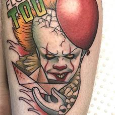 小腿小丑和气球纹身图案