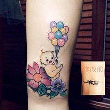小腿气球遮盖纹身图案