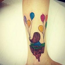 脚踝有创意的气球纹身图案