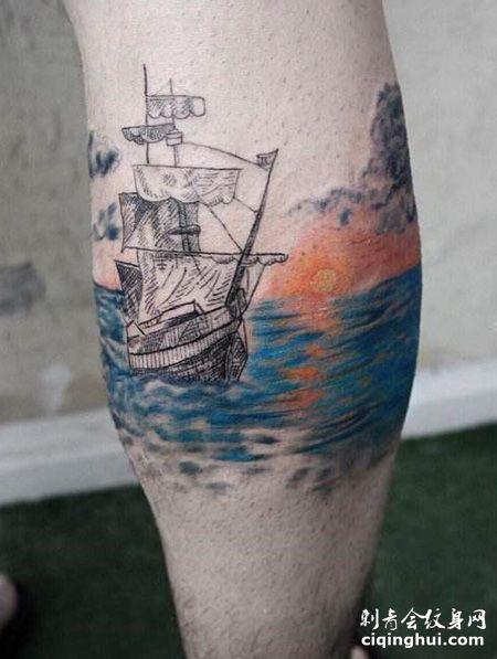 小腿海上日出纹身图案