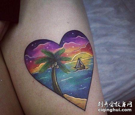 大腿心形日出纹身图案