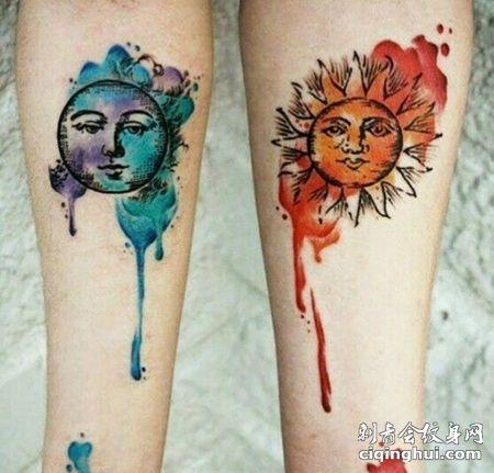 泼墨日月纹身,卡通月亮和太阳纹身图案
