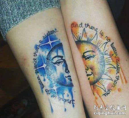 手臂日月纹身,情侣手臂半边月亮和太阳