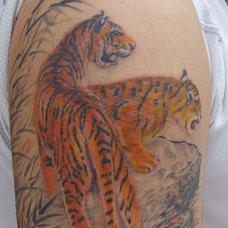 大臂两只上山虎纹身图案