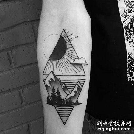 手臂三角形山脉纹身图案