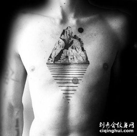 水中倒影,男士胸前山脉纹身图片