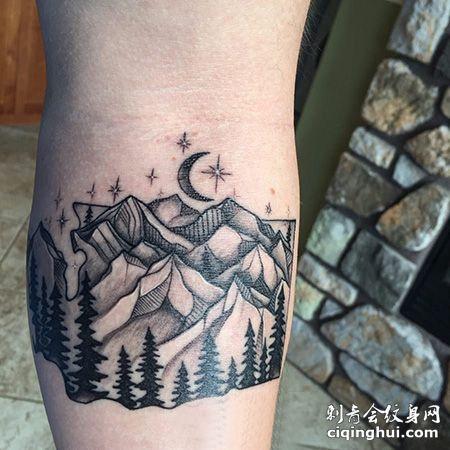 小腿山脉纹身图案