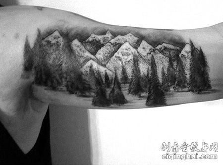 大臂林海山脉纹身图片