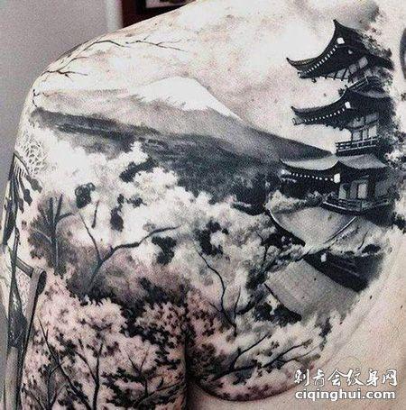 肩部日本山水画纹身图案