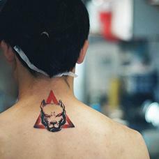 颈部沙皮狗纹身图片