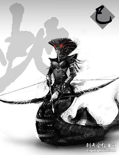 暗黑水墨风十二生肖蛇纹身手稿