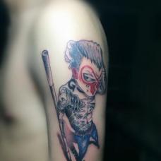 大臂拿金箍棒的社会猴纹身图片