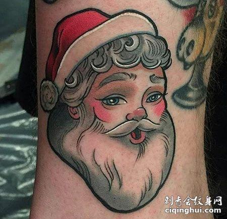 脚踝卡通圣诞老人纹身图案