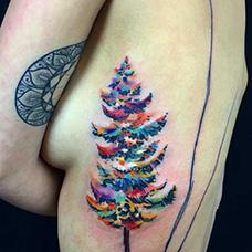 女生胸部侧面圣诞树纹身图案