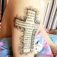手臂十字圣经章节石裂纹身