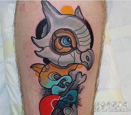 小腿有创意的神奇宝贝纹身图案