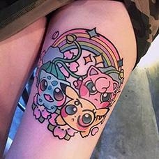 女生大腿神奇宝贝纹身图案