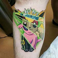 小腿有意思的神奇宝贝纹身图片