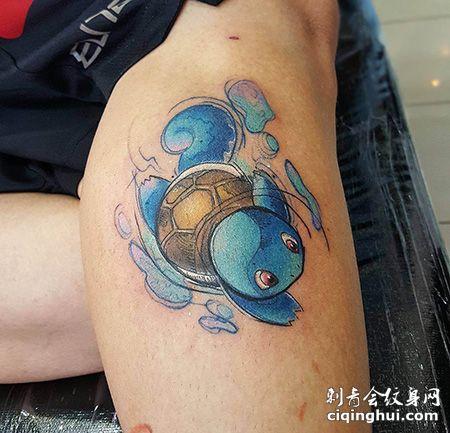 小腿神奇宝贝杰尼龟纹身图片