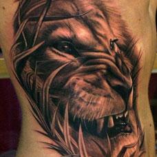侧腰忧郁的狮子纹身图案