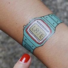 手腕电子手表纹身图案
