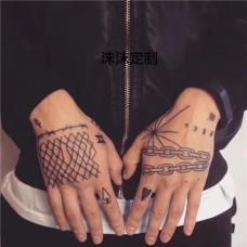 手背嘻哈风格手链纹身图案